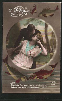Hand tinted c. 1920 April Fool's Day postcard. #vintage #April_Fools_Day #fish