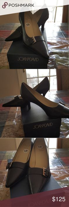 New Joan & David Leather Navy Blue Shoe Navy Blue Joan & David Leather Low Heel Shoe Joan & David Shoes Heels