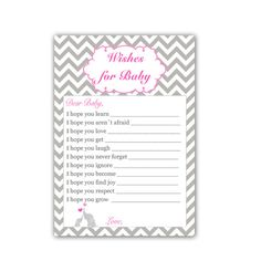 INSTANT DOWNLOAD Elephant Chevron Wishes for Baby Cards - Pink Baby Shower Girl Baby Shower Activities Baby Shower Games Baby Shower Favors Baby Shower Party Games, Baby Shower Activities, Baby Shower Cards, Baby Shower Favors, Shower Games, Custom Invitations, Invitation Cards, Invites, Wishes For Baby Cards