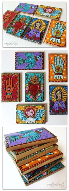 Milagro inspired wall plaques - Art by Regina Lord Más Art Altéré, Mexican Folk Art, Mexican Crafts, Religious Art, Art Plastique, Medium Art, Painting Inspiration, Altered Art, Art Lessons