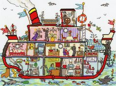 Cruise Ship - Bothy Threads Cut Thru' cross stitch kit Cross Stitch Designs, Cross Stitch Patterns, Cross Stitches, Bothy Threads, Hand Embroidery Kits, Counted Cross Stitch Kits, Back Stitch, Line Drawing, Needlework