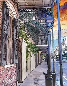 John Boles WATERCOLOR French Quarter Sidewalk ----- Watercolor and ink example of what I would like to do for my final project. Clean line and bold colors Art Aquarelle, Pen And Watercolor, Watercolor Paintings, Watercolours, Urban Sketchers, Architecture, Art Inspo, Fine Art America, Art Drawings