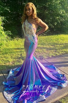 May 2020 - Stunning diamond beaded one shoulder keyhole bodice, purple blue long trumpet African American prom dress with lace hemline medium train. Open back with straps. Black Girl Prom Dresses, Pretty Prom Dresses, Mermaid Prom Dresses, Homecoming Dresses, Beautiful Dresses, Girls Dresses, Formal Dresses, Pink Dresses, Party Dresses