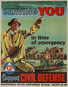 National Civil Defense Week Sept 9-15 1956 Poster Boy Scouts of America BSA