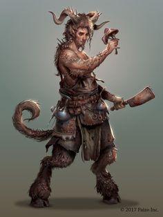 Satyr cook, hunter of mushrooms, the back woods High Fantasy, Fantasy Races, Fantasy Rpg, Dark Fantasy Art, Medieval Fantasy, Dungeons And Dragons Characters, Dnd Characters, Fantasy Characters, Mythological Creatures