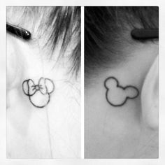 Mickey and Minnie Tattoos behind the ear :)