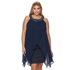 Plus Size Chaya Embellished Chiffon Tulip-Hem Party Dress