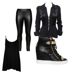 """""""Can You Tell I Like Black?"""" by meganwatkins2005 on Polyvore featuring Ossie Clark, Studio, Giuseppe Zanotti and WearAll"""