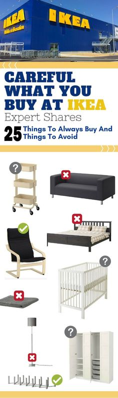 Here are the items that you should avoid (and those that you should get) from Ikea. These Ikea hacks, tips and tricks, and ideas will help you make the most of your trip to Ikea.  #ikea #furniturehacks #diy