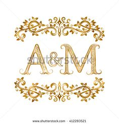 A&M #vintage #initials #logo #symbol. #Letters A, M, ampersand surrounded #floral #ornament. Wedding or business partners initials #monogram in royal style.