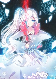 1girl blood blue_eyes broken_glass dress emia_wang glass jewelry long_hair magic_circle necklace ponytail rapier rwby snowflakes solo sword tagme weapon weiss_schnee white_hair