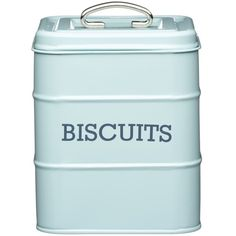 Living Nostalgia Biscuit Canister Blue ($17) ❤ liked on Polyvore featuring home, kitchen & dining, food storage containers, kitchen, decor, food, tin food storage containers, blue canisters, tin canister and square food storage containers