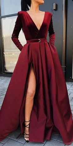 Burgundy V Neck Long Sleeves Side Slit Long Prom Dresses V-Neck Prom Dress, Burgundy Prom Dress, V-neck Prom Dress, Long Prom Dress, Prom Dress With Sleeves Prom Dresses Long Prom Dresses Long With Sleeves, Prom Dresses With Sleeves, Long Sleeve Gown, Long Sleeve Formal Dress, Long Slit Dress, Burgundy Dress Long Sleeve, Long Fancy Dresses, Simple Dresses, Long Dress For Prom