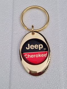Jeep Cherokee Solid Brass Gold Plated Key Chain by KATSKEYCHAINS
