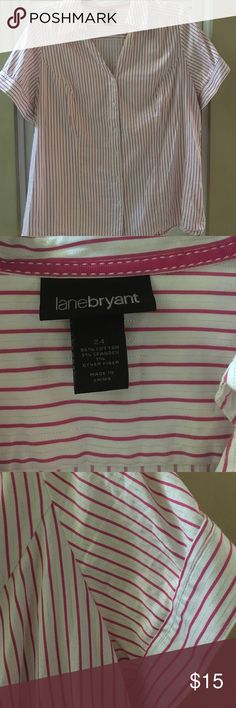 ‼️Price Drop‼️Lane Bryant - Pink/silver stripe top Lane Bryant - Sz 24 White w/ pink & silver stripes button down top. Worn 2-3 times, and is in excellent condition! Feel free to make me an offer or bundle and save!! 🤑 Lane Bryant Tops Button Down Shirts