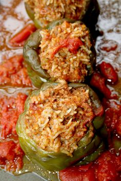 crockpot stuffed peppers, replace beef with chicken or tofu...sounds yummy