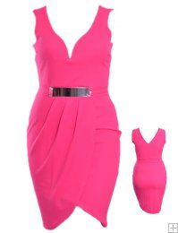 SOLID PINK SWEETHEART DRAPED BODYCON DRESS WITH GOLD PLATE BELT  WHOLESALE PLUS SIZE DRESSES  D11596-51 PLUS SWEETHEART DRESS UNIT PRICE$13.75 1-1-1PACKAGE3PC