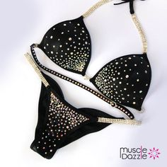 Custom-made black crystal competition bikini. See more at: www.muscledazzle.com