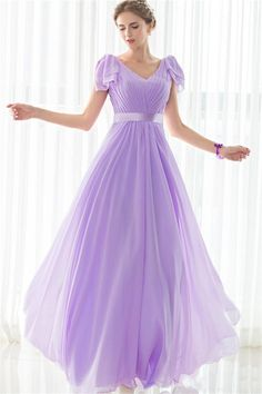 Sheath V Neck Long Lilac Chiffon Wedding Guest Bridesmaid Dress lilac bridesmaid dresses - Bridesmaid Dresses Lavender Bridesmaid Dresses, Bridesmaid Dresses With Sleeves, Lilac Dress Long, Cheap Gowns, Cap Dress, Prom Dress, Wedding Party Dresses, Party Gowns, Prom Party