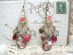 mismatch valentine lover earrings assemblage by lilyofthevally