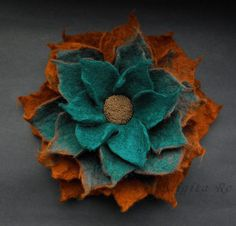 ~ Bright and elegant superfine Merino wool brooch is ~ i n d i v i d u a l l y ~ d e s i g n e d ~ and ~ h a n d f e l t e d ~ b y ~ m e~. This brooch is decorated with small glass beads.    ~ Size: Approx. 12,5 cm (4.75 in.).    ~ Please be aware that colours can appear a little different on screen than they do in the flesh.    ~ Please read the shipping policies:  http://www.etsy.com/shop_policy.php?user_id=9729186    Thank you!  ~~~~~~~~~~~~~~~~~~~~~~~~~~~~~~~~~~~~~~~~~...