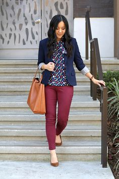 Putting Me Together: Navy printed blouse+burgundy pants+brown suede pumps+navy blazer+cognac tote bag. Spring Business Casual Outfit 2017