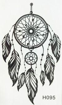 2016 NEW 10x6cm Black Fashion Tattoo Dreamcatcher Feather Waterproof Temporary Tattoo Stickers