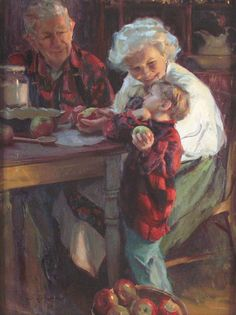 Kai Fine Art is an art website, shows painting and illustration works all over the world. Art And Illustration, Images Gif, Grands Parents, Grandchildren, Norman Rockwell, Mail Art, Beautiful Paintings, Oeuvre D'art, Painting & Drawing