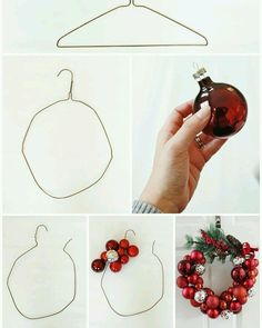 """I know what you're thinking: """"Oh great, another Christmas ornament wreath tutorial,"""" BUT my tutorial comes with a twist! I made my wreath one-handed. That's rig… xmas crafts How to Make a Christmas Ornament Wreath With a Wire Hanger Homemade Christmas Decorations, Christmas Wreaths To Make, Christmas Home, Christmas Holidays, Christmas Ideas, Christmas Lights, Outdoor Christmas, Christmas 2019, Holiday Ideas"""