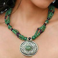 "Jasper and amethyst floral necklace, ""Flourish"""