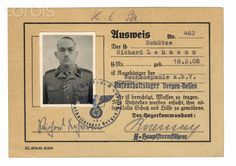 World War II, Identity Card of SS Guard at Bergen Belsen Concentration Camp