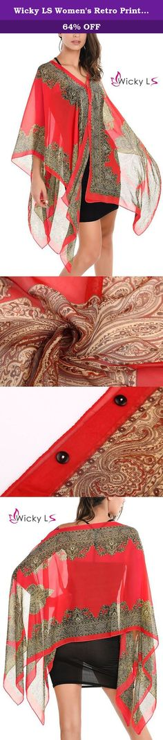 Wicky LS Women's Retro Print Chiffon Shirt Sunscreen Cloak Bat Sleeve Chiffon Shawl (One Size, Red). This is retro print chiffon shirt sunscreen cloak bat sleeve chiffon shawl,suitable for outdoor activeties of beach,which popular in 2016.,The shawl is a necessary style wear in summer times, it's one size fits S to M in US. It's really a good choice for vacations Please note that due to limitations in photography and the inevitable differences in monitor settings, the colors shown in the...
