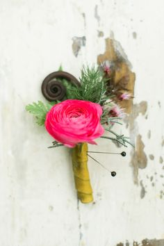 hot pink boutonniere - photo by Emily Wren http://ruffledblog.com/woodland-romance-wedding-inspiration