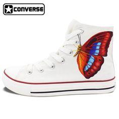 61e192378147 Butterfly Original Design Converse Chuck Taylor Hand painted Shoes Woman  Man White High Top Women Men