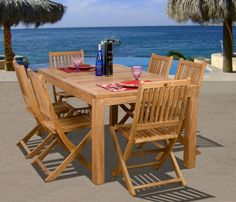 """""""Patio 7 Piece Dining Set: Design your patio with style and fashion from Sears"""" Teak $1187.59"""
