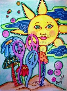 ☮ American Hippie Psychedelic Art ~ Sun Peace Signs
