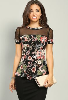 paneled floral peplum top Papaya ClothingOn Top On Top may refer to: Tie Dye Shirts, Cut Shirts, One Direction Shirts, Moda Floral, Papaya Clothing, Tulip Sleeve, Tee Dress, Top Pattern, Outfit