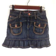 Freestyle Girls Dark Wash Denim Trumpet Style Mini Skirt Size 10 #Freestyle #MidiSkirt #Everyday