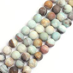 14mm Round Gemstone Frost Mixed Amazonite Beads Strand 15...