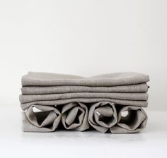Linen napkin set of 16 for wedding table -  Gray natural linen fabric - cloth napkins - table linens 18x18