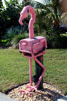 Looking for mailbox ideas for your landscape? Here are creative mailbox landscaping ideas from other materials: vintage, stone, wood. Funny Mailboxes, Unique Mailboxes, Tropical Mailboxes, Flamingo Art, Pink Flamingos, Mailbox Landscaping, Landscaping Ideas, Backyard Ideas, Garden Ideas