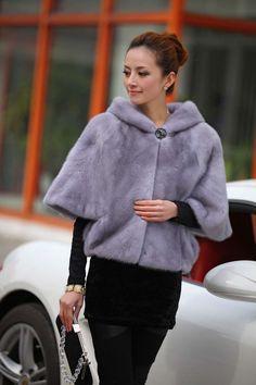 Sapphire Hooded Female Mink Jacket Shawl