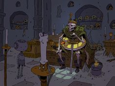 German artist Varguy creates beautiful illustrations that are heavily influenced by Hayao Miyazaki and Studio Ghibli's visual style. More illustrations via DeviantArt Cartoon Kunst, Cartoon Art, Skeleton King, Studio Ghibli, Ligne Claire, Comic Styles, Art Inspo, Painting & Drawing, Art Reference