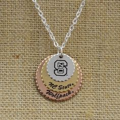 North Carolina State Wolf Pack Stamped Disc Necklace