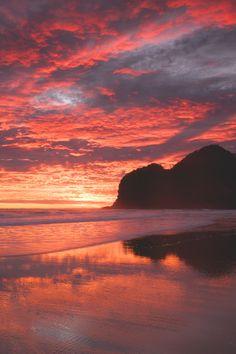 Bethells Beach Red Sunset Seascape