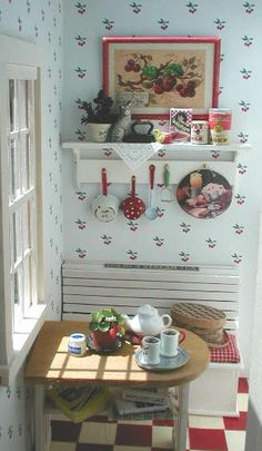 Miniature cherry nook in a dollhouse. :)  Kaitlin! You should see all the miniatures on this site!