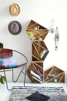 Geometric shelving units to stack up against a wall.