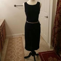 Two piece set Soprano Navy blue crop top and skirt top is small bottom is large Soprano Dresses