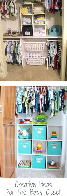 Baby Closet Organization Ideas - Nursery Closet Organization Ideas We Love! Baby Closet Organization Ideas - How To Organize the Baby Closet - DIY Nursery Closet Organization Ideas Baby Room Closet, Boys Closet, Baby Room Diy, Baby Bedroom, Closet Bedroom, Baby Closets, Diy Baby, Small Closets, Small Rooms