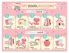 School Routine Chart - Girl Theme